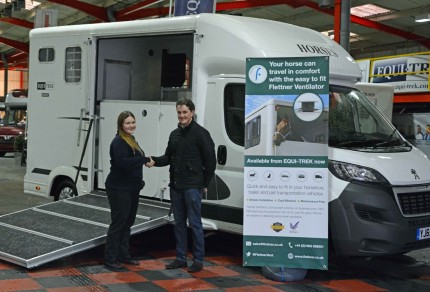 Tom McEwan taking delivery of EQUI-TREK horsebox fitted with Flettner Ventilator.
